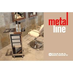 """Takara Belmont Metal Line Carrello """" Jolly Metal """" Finitura A Tela Di Lino 4 Cassetti In Termo Formato"""